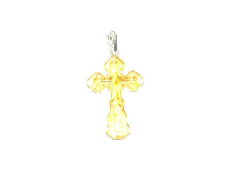 Крест православный из натурального янтаря
